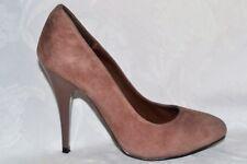 TOPSHOP Ladies Size 3 EU 36 Brick Brown Suede Classic Shoe Shiny Heel *VGC CLEAN