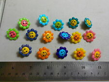 """Novelty Buttons (new)(16) 3/4"""" SMILEY FACE FLOWERS"""