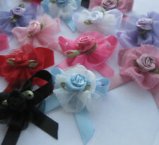 24pcs Upick Ribbon Bows Flowers Rose Appliques wedding Sewing Craft E62