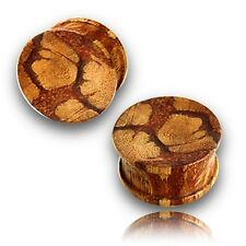 "NEW PAIR 9/16"" INCH (14MM) CONCAVE ZEBRA WOOD PLUGS PLUG"