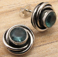 925 Silver Overlay Round APATITE SPIRAL KNOT Perfect Studs Earrings NEW