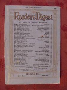 Readers Digest March 1935 Stark Young Julian Street Robert Littell Rupert Hughes