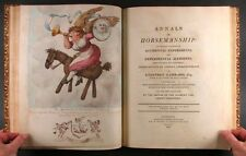 1808 William Bunbury Horseman Riding Satire - Color Plates - in Full Leather