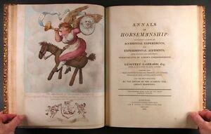 1808 William Bunbury Horseman Riding Satire - Color Plates - in Full Leather