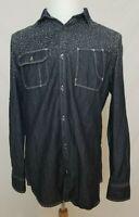 INC Mens M Button Up Long Sleeve Shirt w/ Dark Blue Denim Look Cotton EUC