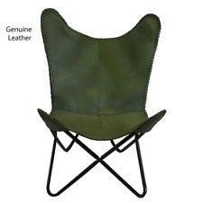 Green Vintage leather butterfly Chair RRP £ 350.00