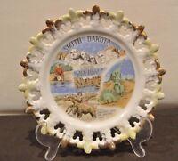 """Vintage """"South Dakota"""" Pierced Souvenir 8""""  Plate"""