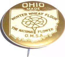Vintage OHIO Winter Wheat FLOUR pin Premium BAKERY pinback National FLOWER OMSA