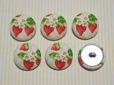 6 Strawberry Fabric Covered Buttons - 30mm