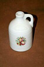 "Vintage Harris Pottery White Clinton China 9"" Stoneware Peach Cider Whiskey Jug"