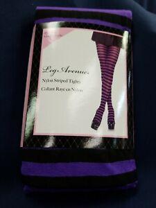 Black And Purple Striped Tights Halloween Leg Avenue Adult Plus 3X/4X New