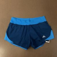 "ADIDAS Women's Large 3"" Run It Short Teal Turquoise Climalite Running Shorts"