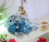 "(4) PIER 1 Aqua Gold Blue Blown Fish Glitter Christmas Glass Ornaments Set 4"""