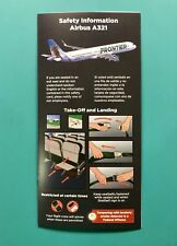 FRONTIER AIRLINES SAFETY CARD--AIRBUS 321-- MARCH 2018