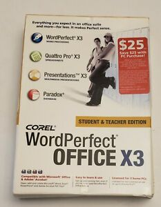 COREL WordPerfect® Office X3 Student & Teacher Edition with box