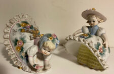 Vintage Lefton Pair Of Bloomer Girl Figurines Bone China Flowers Trim Kw1702