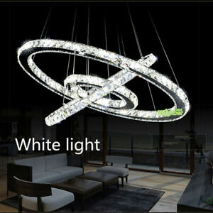 Modern Ring Crystal LED Pendant Lamp Round Chandelier Ceiling Light Fixture