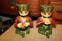 Vintage India Wood Carved Musician Figures Pair Drums Flute Colorful