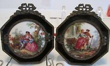Pr Vintage French Porcelain Miniature Courting Scene Plaques Bow Top Ebony Glass