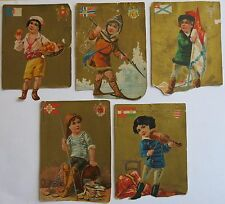 ca. 1887 (120+ years old) Lot of 5 Cards Ephemera Europe Flags Adolescent Boys