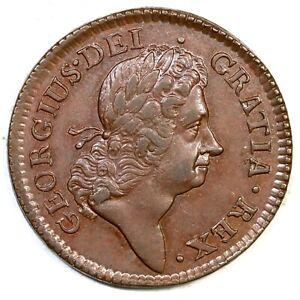1723 4.57-Fa.4 R-3 Hibernia Halfpenny Colonial Copper Coin 1/2p