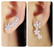 Solid 925 Sterling Silver Cute Charming CZ Flowers Cuff Climber Crawler Earrings