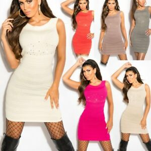 Sexy Miss Damen Girly Strick Stretch Mini Kleid Strass Nieten look 34/36/38 Neu