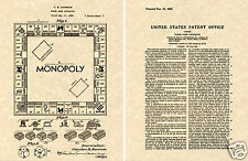 MONOPOLY 1935 US Patent Art Print READY TO FRAME!!!! Darrow board game board