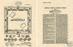Monopoly 1935 US Vernice Stampa Pronto Per Telaio Darrow Gioco da Tavolo Tavola