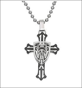 $105! NEW 'BLACK & BLUE' Jewelry Co. HOBOKEN Stainless Steel Small Diamond Cross