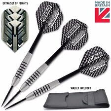 25G HAWKER Tungsten Darts Set + Pentathlon Dart Flights, Stems, Dart Case Wallet