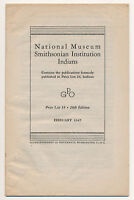 Vintage 1947 INDIANS PUBLICATION National Museum Smithsonian Price List Guide