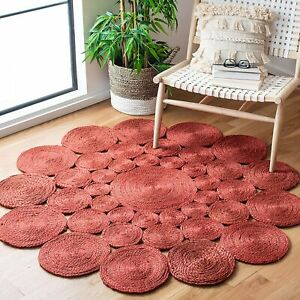 Rug Natural Red Jute Round Hand Braided Style Outdoor Handmade Home Decor Rugs