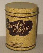"""Vintage Mini 5"""" Charles Chips Tin with Lid Salesman Sample Mussers Potato Chip"""