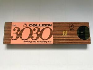 """12 VINTAGE COLLEEN PENCILS: COMPLETE BOX OF """"no.3030"""" H - MADE IN JAPAN - UNUSED"""