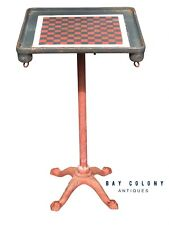 19TH C ANTIQUE VICTORIAN CAST IRON CHECKERBOARD TOP GAME TABLE