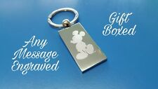Personalised Chrome Mickey Mouse Keyring In Gift box with your message ANY TEXT