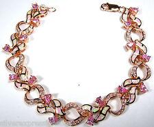 Rose Gold Plated 925 Sterling Silver Pink Topaz & Pink Opal Link Tennis Bracelet