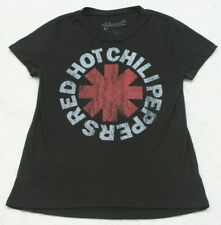 Red Hot Chili Peppers Black Red Short Sleeve Crewneck Tee T-Shirt Top Rayon Poly
