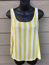 Forever 21 Womens Blouse Tank Top Yellow Striped Sheer Sleeveless Shirt Size S/P