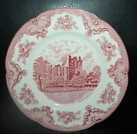 Johnson Bros Old Britain Castles Pink Dinner Plate Blarney Castle NEW 4 Avail