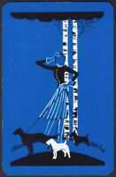 Playing Cards Single Card Old Vintage Art Deco GIRL Walk TERRIER DOGS Picture A