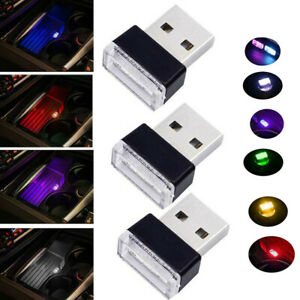 3x Mini USB LED Car Interior Light Neon Atmosphere Ambient Lamp Bulb Accessories