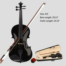 New Student Band 4/4 Acoustic Orchestral Violin Fiddle Black with Case Bow Rosin
