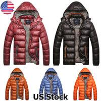 Men Winter Warm Duck Down Jacket Thick Hooded Puffer Coat Parka Overcoat Outwear