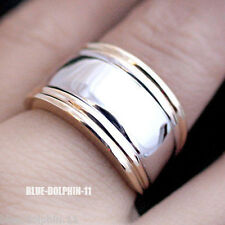 Real Genuine Solid 9ct Yellow White Gold Engagement Wedding Dress Mens Ring band