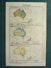 1921 MAP ~ AUSTRALIA ~ GEOLOGICAL RAINFALL DISTRIBUTION POPULATION DENSITY