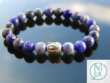 Buddha Sodalite Natural Gemstone Bracelet 7-8'' Elasticated Healing Stone Chakra