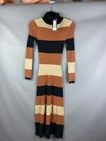 BNWT M&S Jumper Dress Size XS 6-8 Tan Black Striped Midi Stretchy Roll Neck Long