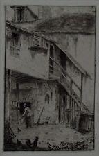 EUGENE DELATRE - La ferme de la rue Constance - Original Etching